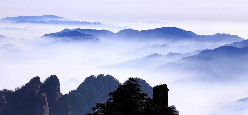 雾,山,黄山山脉,安徽省,自然,水平画幅,地形,岩石,无人,全景