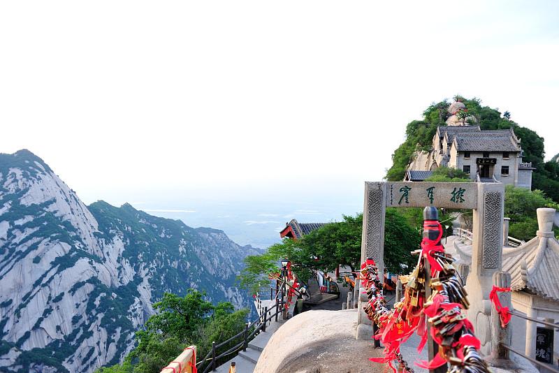 华山,陕西省,天空,沟壑,水平画幅,无人,早晨,东亚,夏天,户外