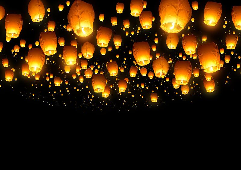 灯笼,天灯,热气球,新年前夕,照明设备,光,纸灯笼,中国灯笼,天空,美