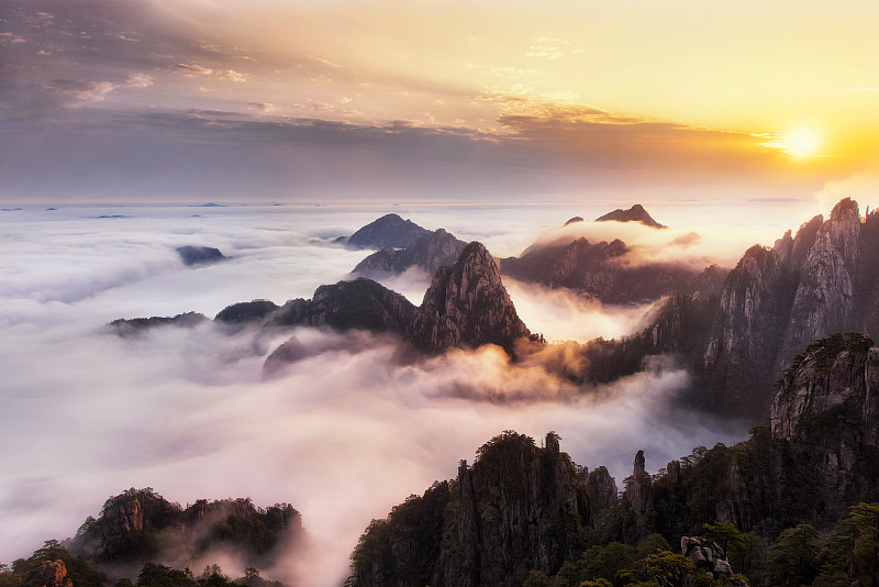 黄山,中国,黄山山脉,安徽省,自然,水平画幅,木制,蓝色,旅行者,户外
