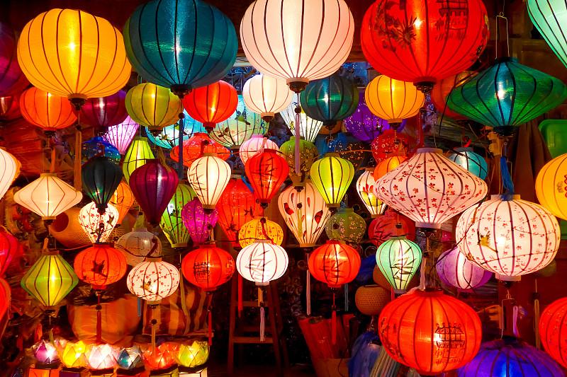 悬挂的,中国灯笼,多样,绘画艺术品,宫灯百合,越南,灯笼,夜市,礼品店,传统节日