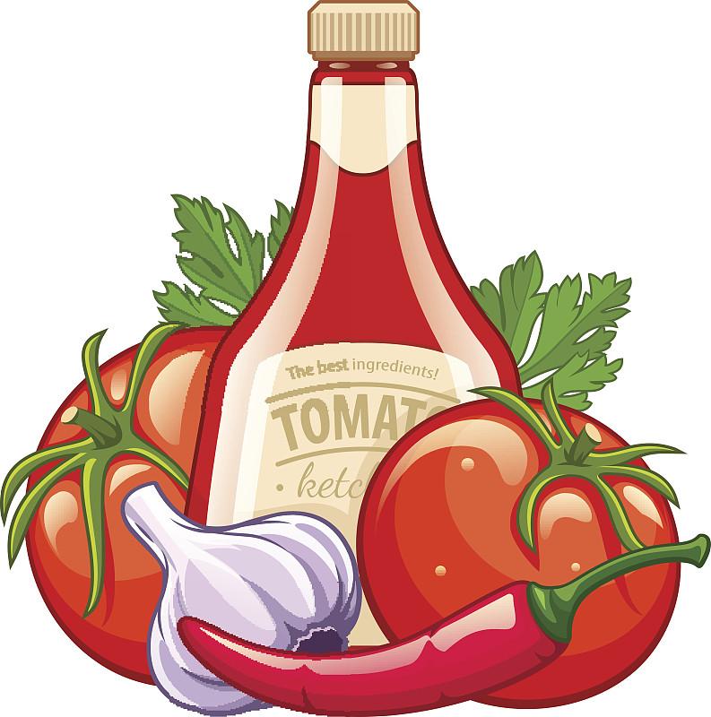 瓶子,蔬菜,番茄酱,有机食品,营养成分标签,灯笼椒,椒类食物,绘画插图,符号,行李标签
