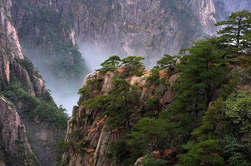 峡谷,黄山,黄山山脉,安徽省,拼块地形,天空,风,水平画幅,无人,户外