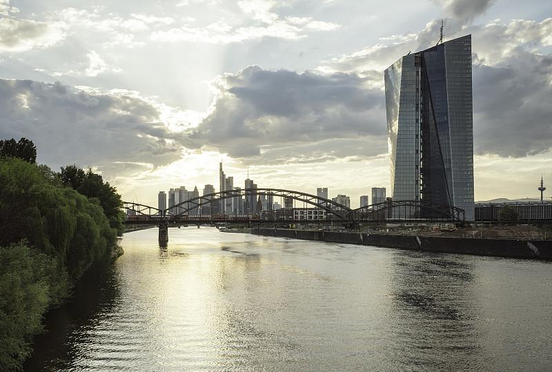 欧洲央行,建筑业,建筑工地,美茵河,法兰克福,中央银行,水,外立面,水平画幅,银行