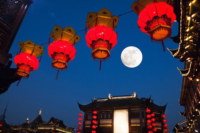 豫园,夜晚,上海,秋天,中间,中秋节,灯笼,月亮,传统节日,天空