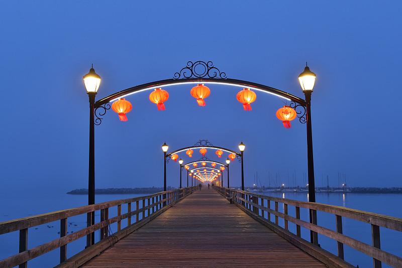 灯笼,码头,红色,中秋节,白岩,拱门,大不列颠哥伦比亚,2015年,公园,水平画幅