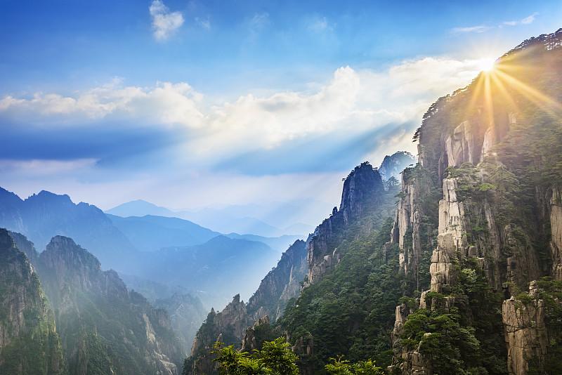 黄山山脉,华山,安徽省,陕西省,天空,留白,高视角,早晨,旅行者,都市风景