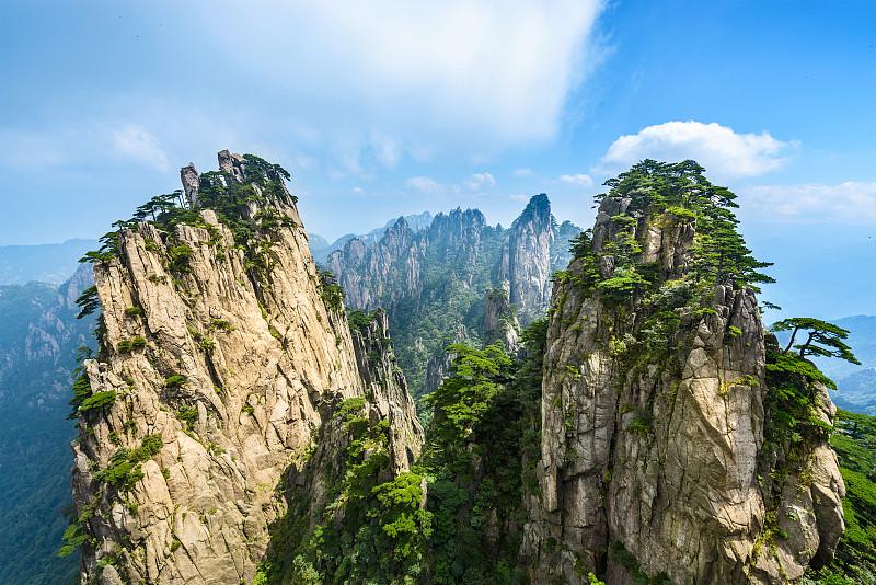 黄山山脉,华山,安徽省,陕西省,天空,公园,水平画幅,高视角,山,东亚