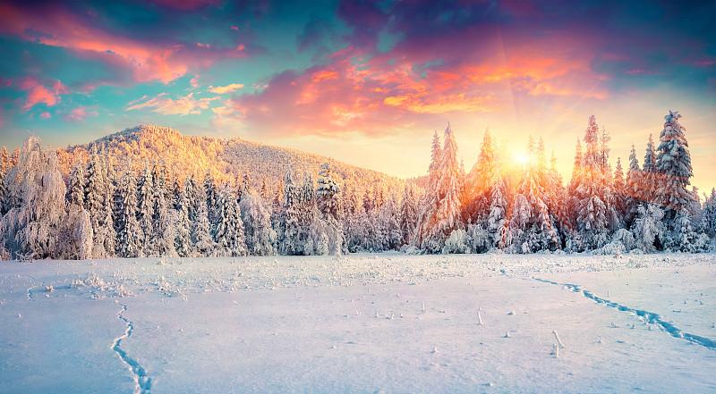 色彩鲜艳,冬天,全景,卡帕锡安山脉,非都市风光,大风雪,宏伟,寒冷,地形,早晨