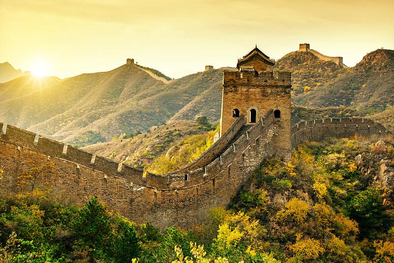 北京,世界遗产,要塞,远古的,非凡的,围墙,秋天,旅游目的地,风景,自然