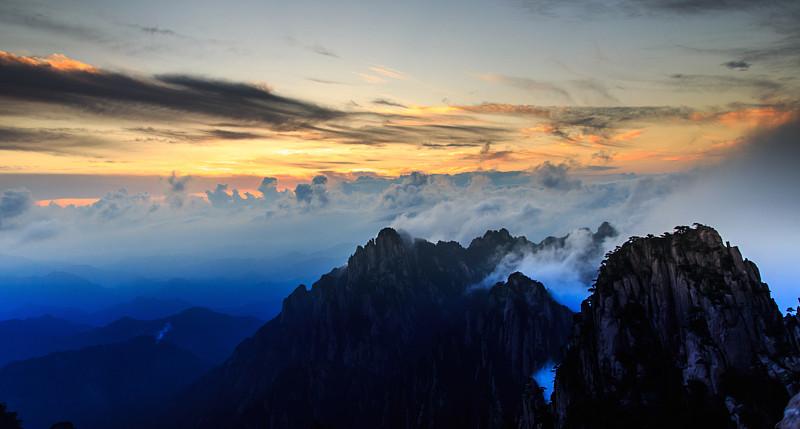 墨水,地形,黄山山脉,水平画幅,无人,黄昏,户外,云景,自然美