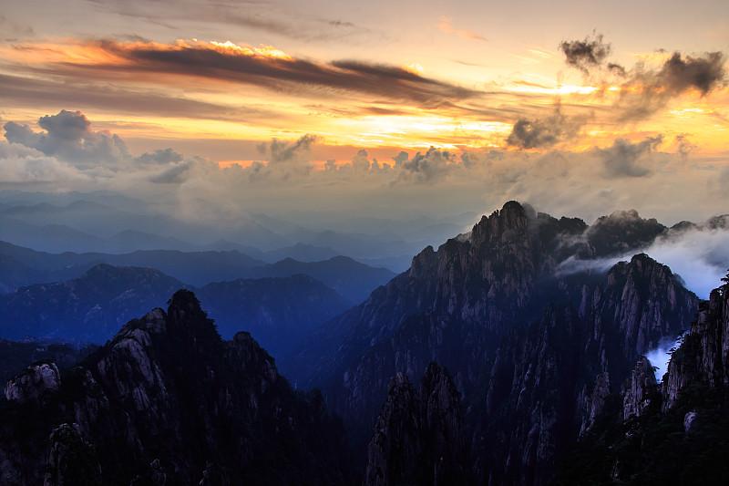 地形,墨水,黄山山脉,水平画幅,无人,黄昏,户外,云景,自然美