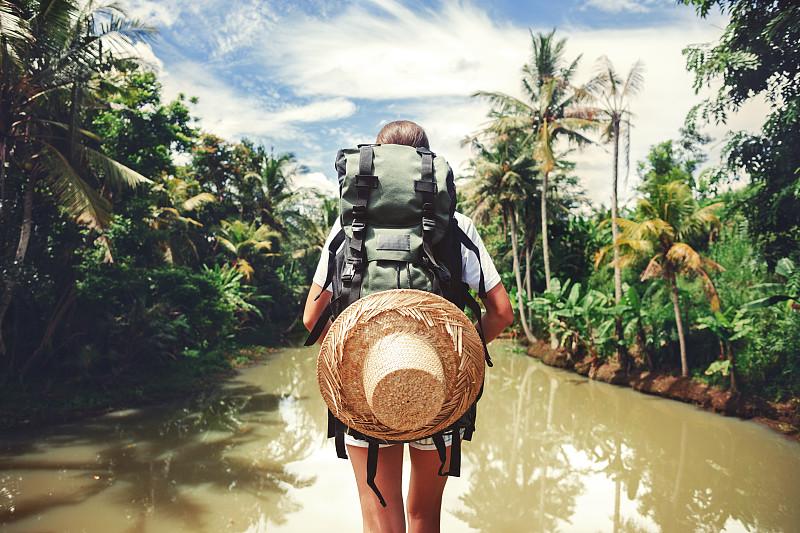 河流,女人,鸡尾酒,巨大的,探险家,热带雨林,背包,野生动物保护区,寂寞,旅行者