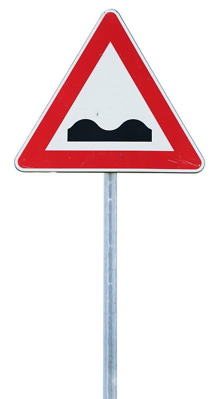 白色,不平坦的,交通标志,杆,分离着色,障碍训练场,让路标志,垂直画幅,无人,符号