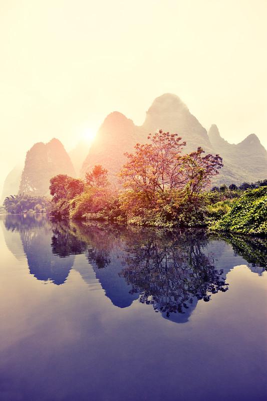 桂林,河流,漓江,兴平,地形,中国,风景,阳朔,自然,垂直画幅