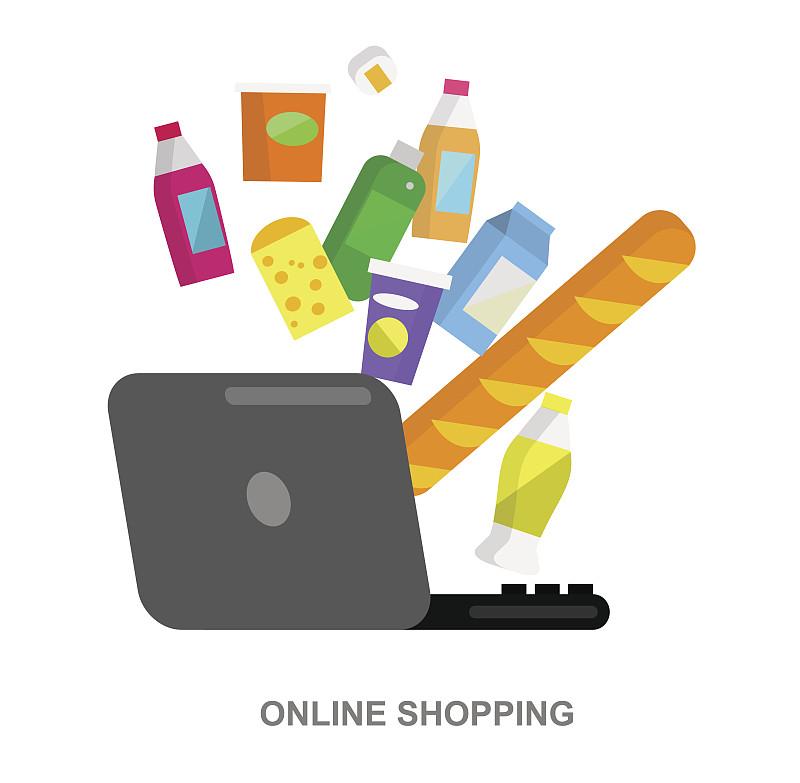 绘画插图,超级市场,商店,矢量,平坦的,笔记本电脑,水平画幅,无人,组物体,市场营销