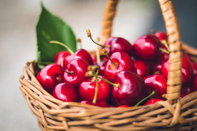 樱桃,篮子,留白,高视角,素食,果汁,夏天,乡村风格,甜点心,清新