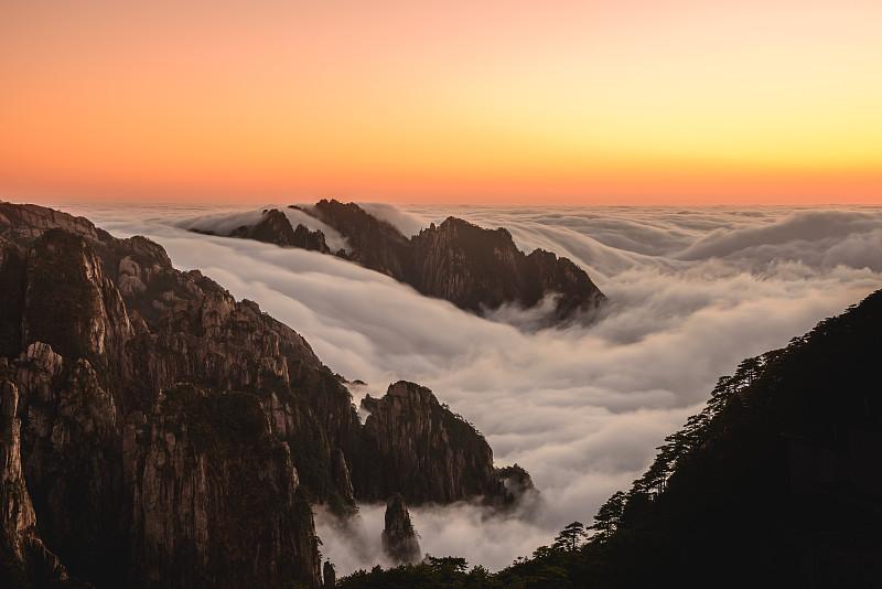 云,海洋,黄山山脉,安徽省,国家公园,水平画幅,无人,户外,云景,山