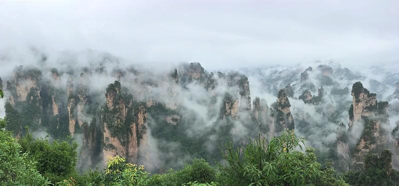 全景,云,海洋,张家界,武陵源,拼块地形,湖南省,天空,水平画幅,无人