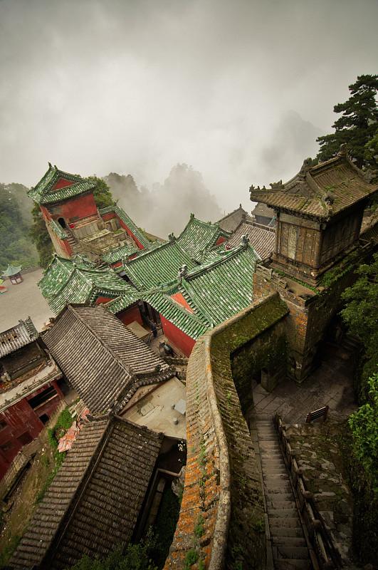 寺庙,武当山,太极,棕褐色调,瓦,禅宗,雾,灵性,古董,连栋房屋