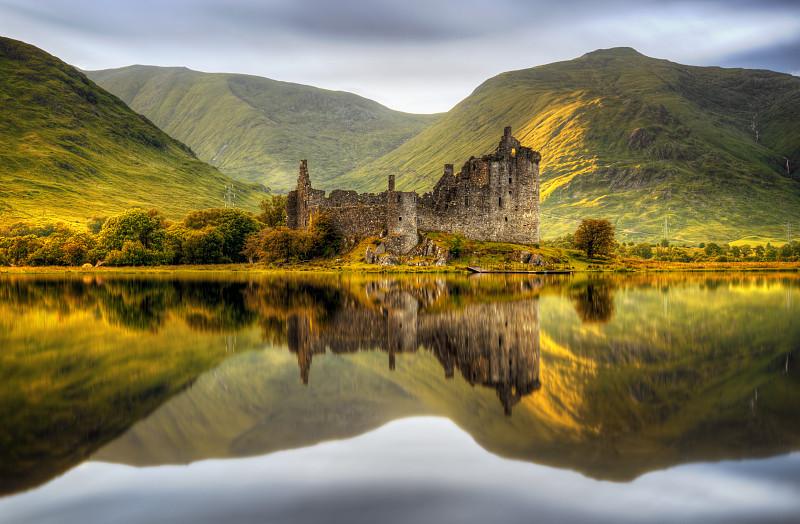水,水平画幅,无人,古老的,苏格兰,夏天,户外,要塞,石材,湖