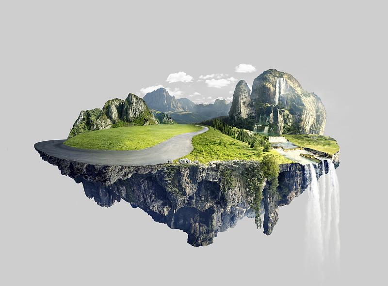 半空中,岛,小树林,非凡的,水,天空,风,透过窗户往外看,研磨食品,超现实主义的
