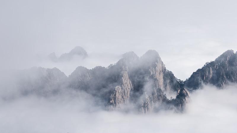 黄山山脉,中国,云景,雾凇,海洋,安徽省,天空,水平画幅,山,雪