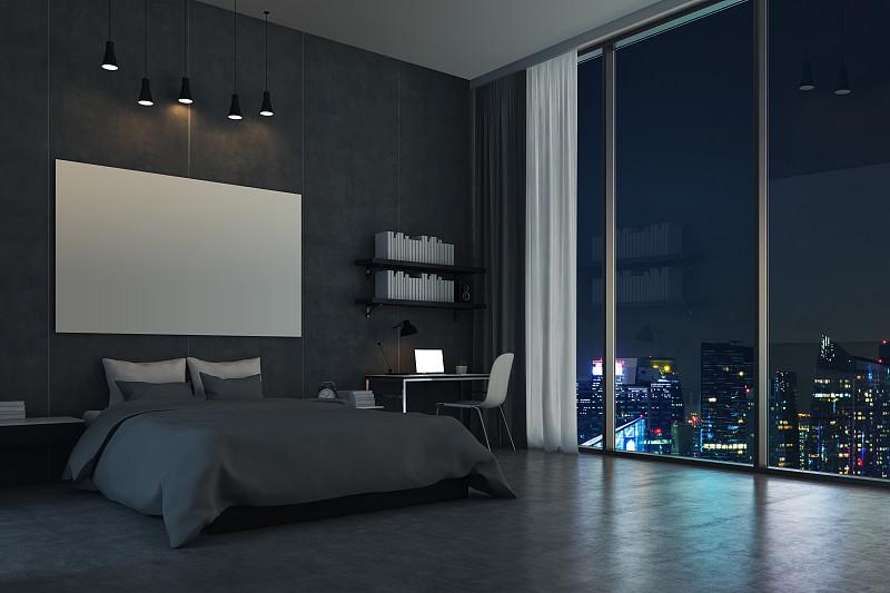 卧室,窗户,都市风景,全景,留白,水平画幅,墙,夜晚,无人,地毯