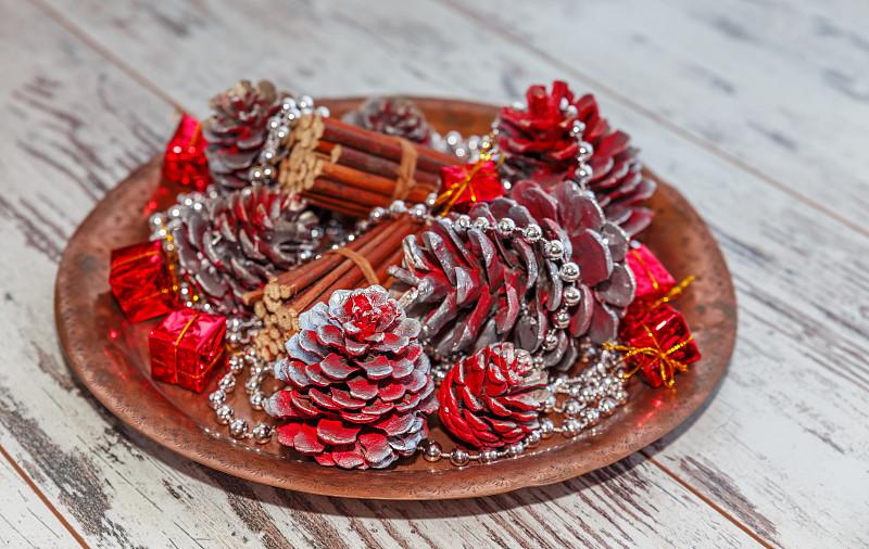 圣诞装饰,水平画幅,银色,无人,特写,明亮,新年,新年前夕,珠子