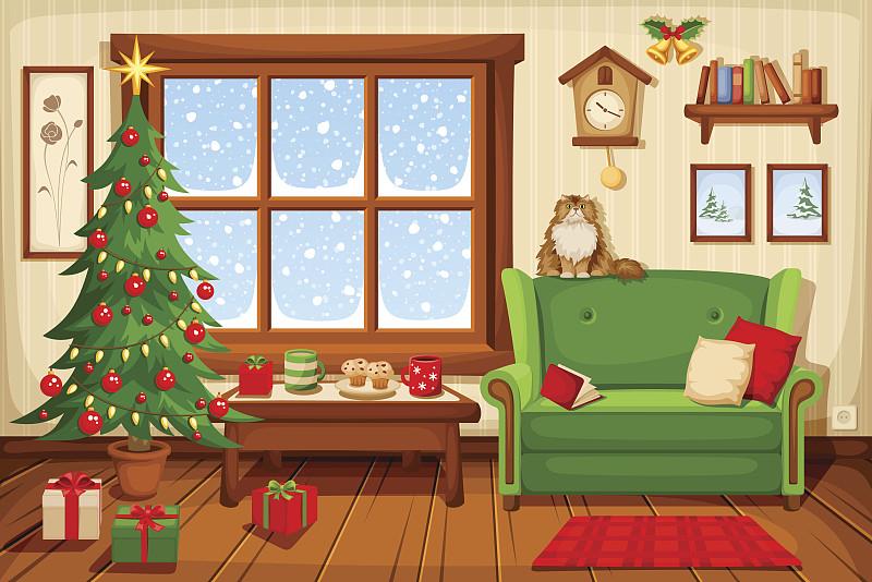 住宅房间,室内,绘画插图,矢量,布谷鸟钟,窗户,圣诞树,起居室,卡通
