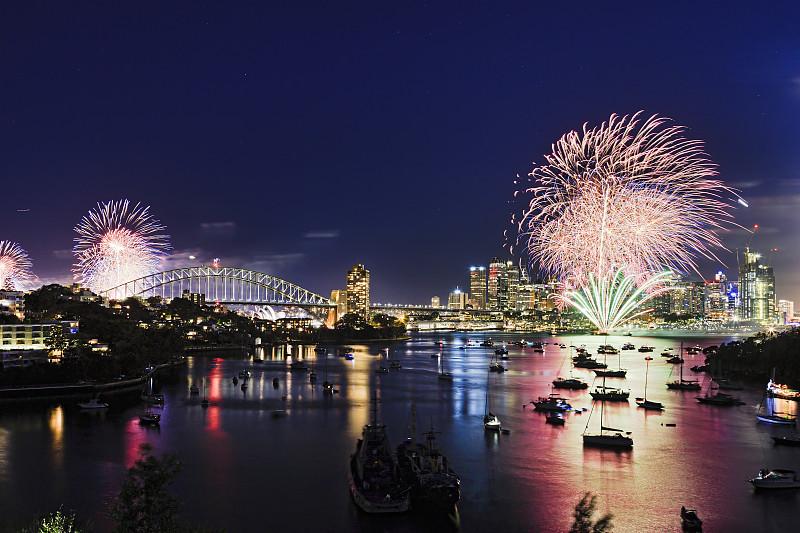 数字16,青绿色,天空,放焰火,焰火,春节,新年,参观者,澳大利亚,群众