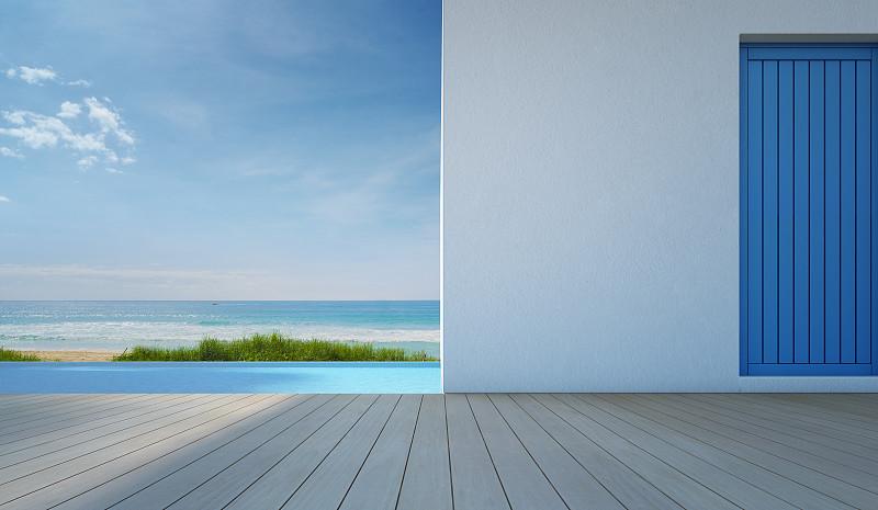 现代,白色,海洋,看风景,游泳池,华贵,海滨别墅,水,天空,夏天