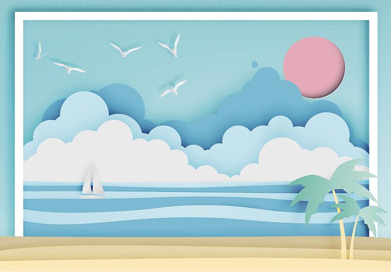 海滩,纸,艺术,边框,自然美,高雅,海洋,波浪,夏天,海鸥
