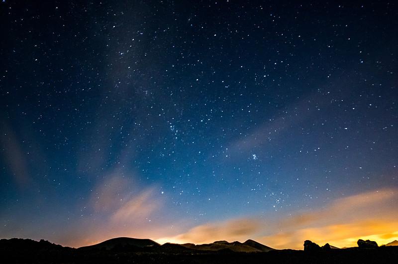 兰萨罗特岛,夜晚,天空,银河系,timanfaya,national,park,长时间曝光,留白,星星,星系,星云