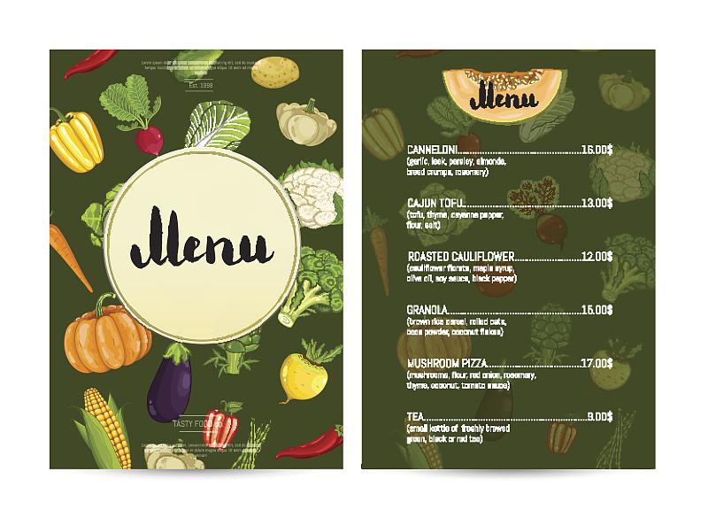 咖啡馆,素食,菜单,食品,计划书,目录,负责任的企业,价格标签,贺卡,食品杂货