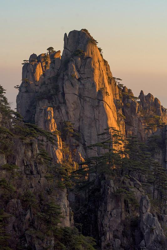 黄山山脉,安徽省,松树,中国,地形,桨叉架船,一只动物,中国东部,旅游