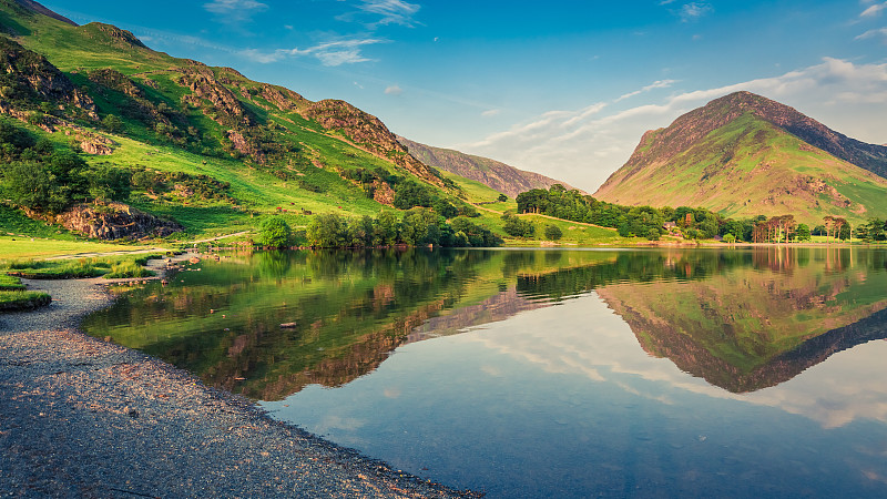 英格兰,湖,居住区,自然美,巴特米尔,田园风光,英国,国内著名景点,夏天,湖岸