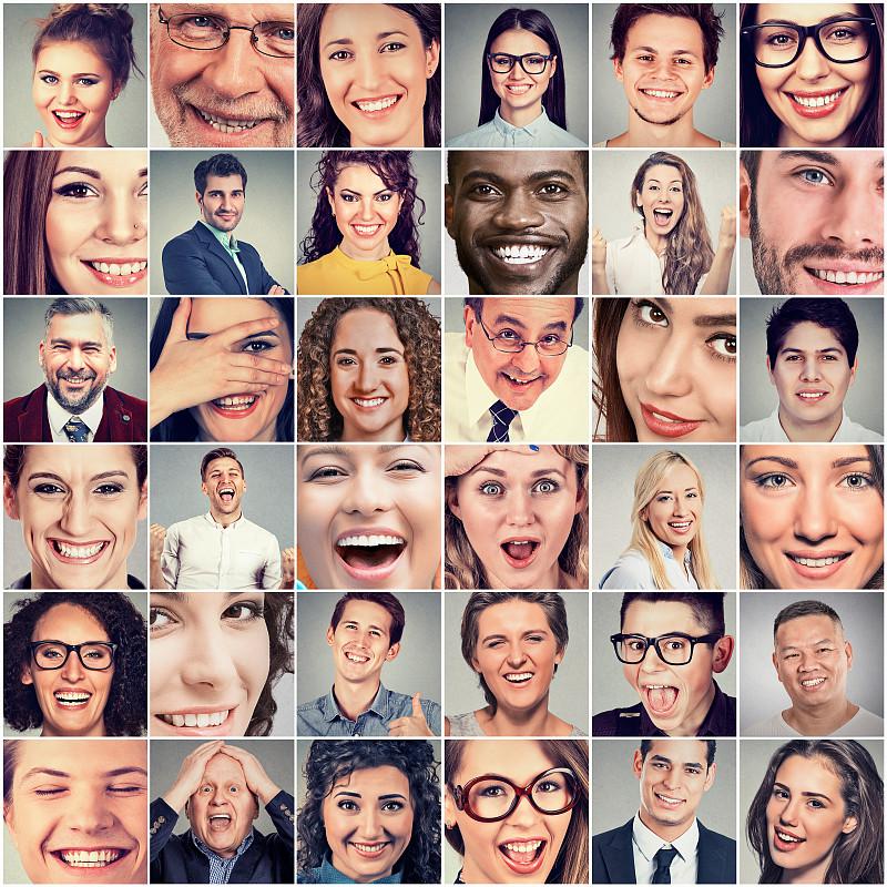 幸福,女人,男人,镶嵌图案,合成图像,人的脸部,多样,人,头像,露齿笑