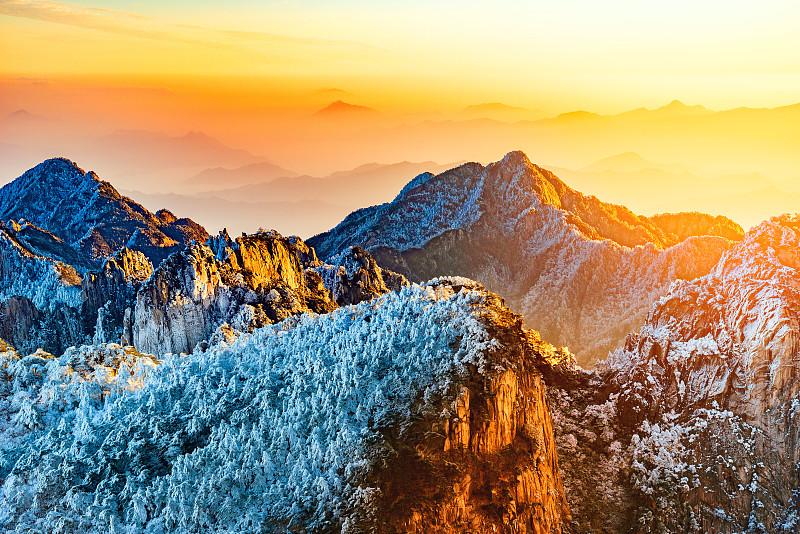 黄山山脉,国家公园,地形,山脊,安徽省,松林,杉树,悬崖,松科,松树