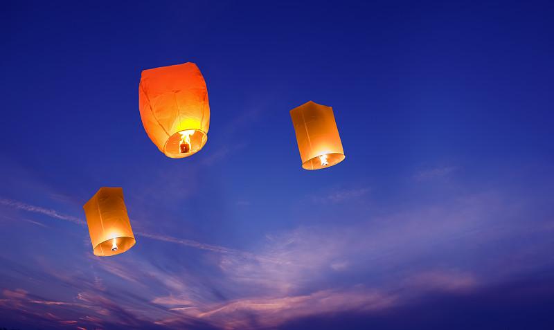 灯笼,天空,特写,纸灯笼,半空中,典礼,中国元宵节,火焰,火,中国灯笼