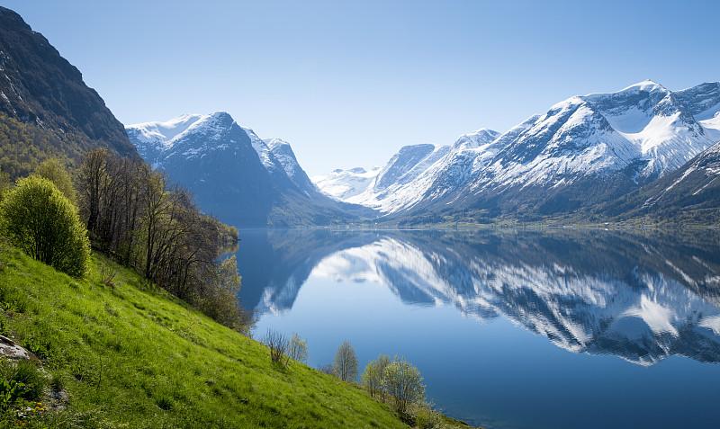 挪威,峡湾,全景,北峡湾,地形,自然,春天,风景,山脉,山