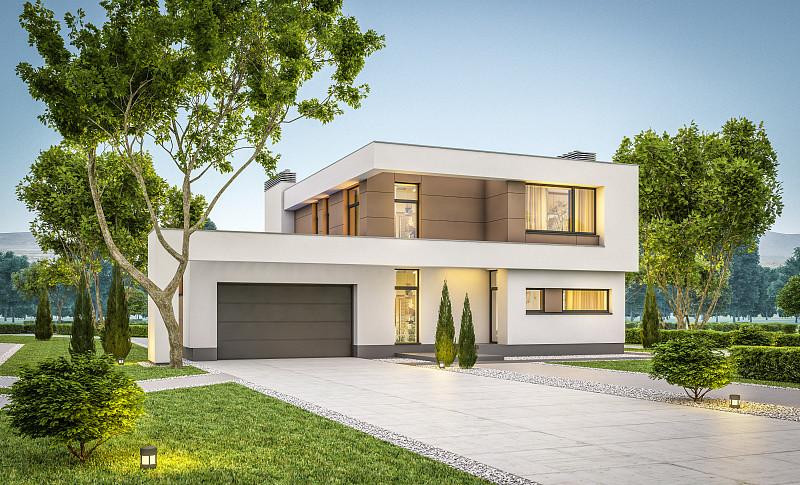 房屋,现代,舒服,夜晚,夏天,三维图形,建筑外部,别墅,支出,车库
