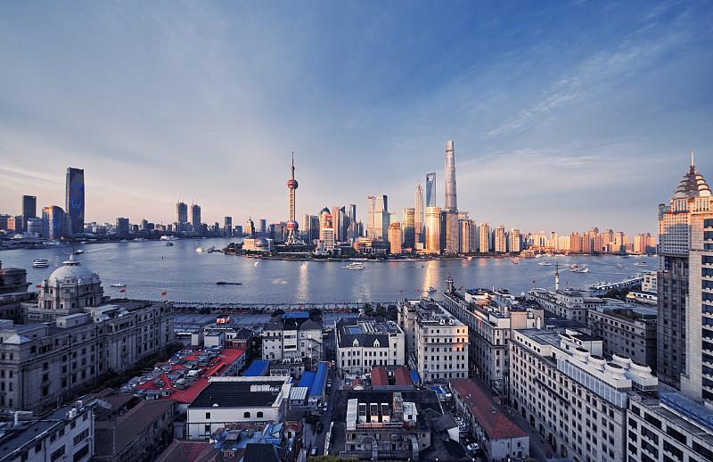 全景,上海,经济,上海中心大厦,金茂大厦,外滩,陆家嘴,浦东,东方明珠塔,海港