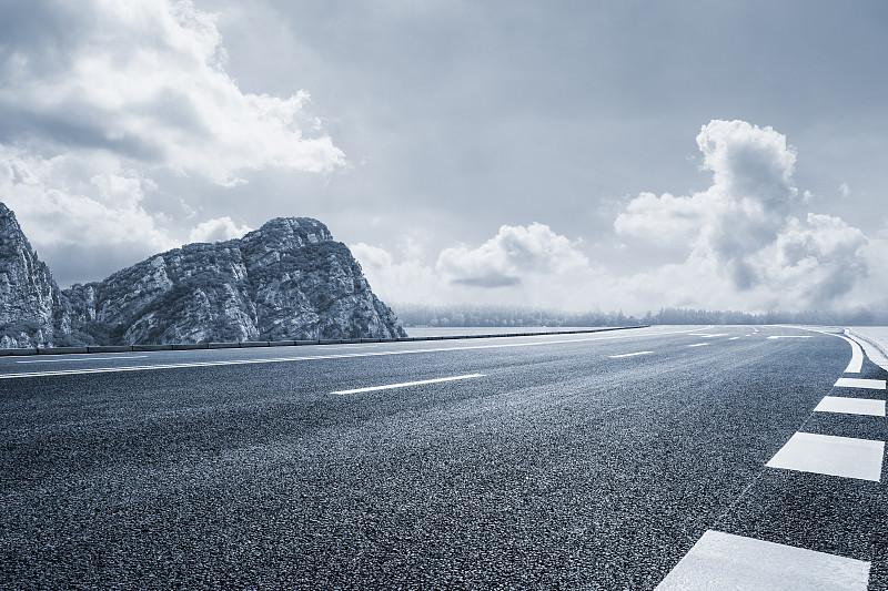 山,天空,在下面,海洋,柏油路,沥青,陆用车,公路,透视图,车道