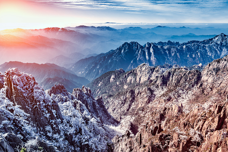 早晨,风景,山顶,黄山山脉,松林,安徽省,沟壑,山脊,杉树,松科