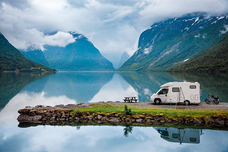 挪威,旅途,家庭,汽车,自然,露营车,地形,旅游目的地,旅行,度假