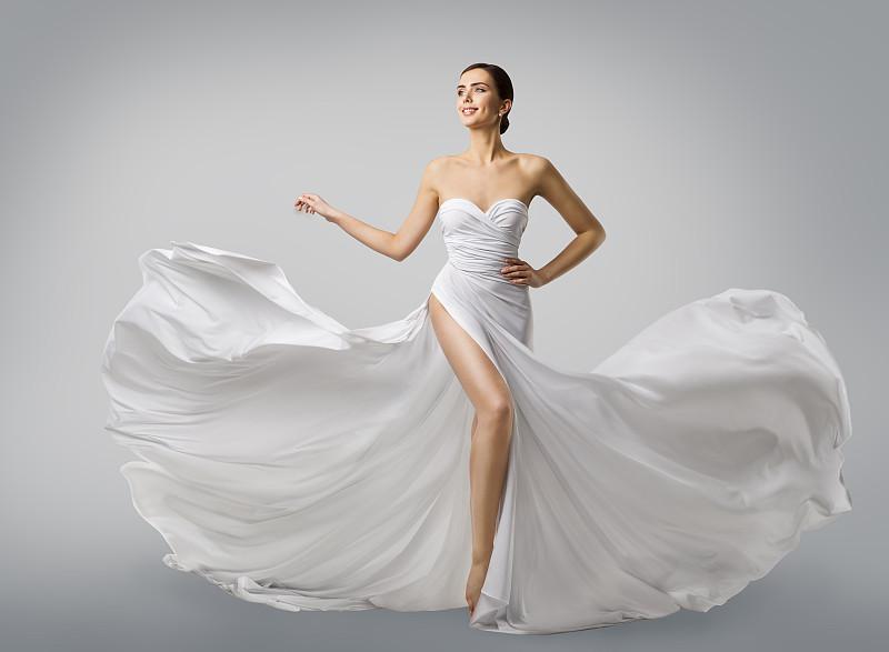 纺织品,女人,长的,丝绸,时装模特,新娘,高雅,白色长裙,飞