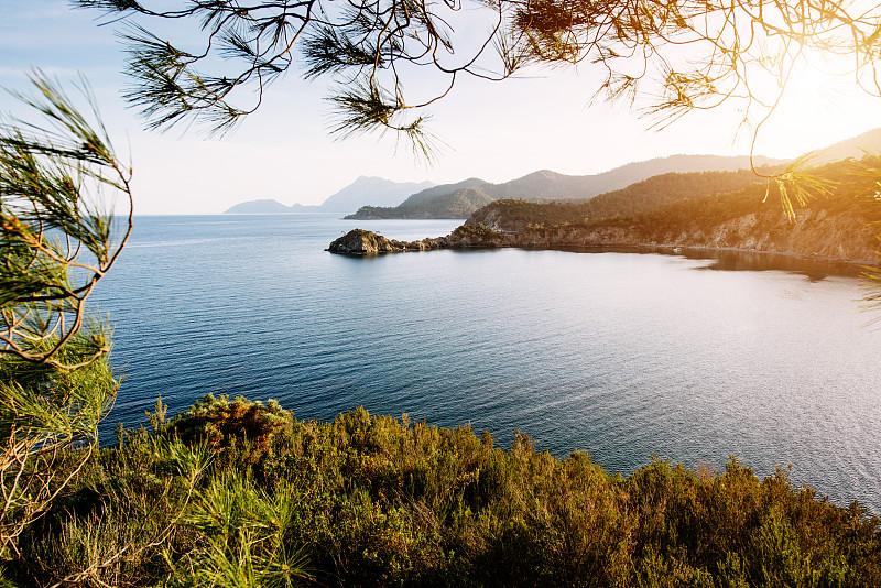 海洋,地中海,蓝色,海岸线,土耳其,黄昏,波浪,水,天空,风