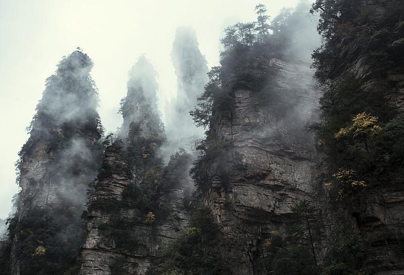 张家界,山,地形,武陵源,神迹,自然荒野区,湖南省,原野,秘密,宏伟
