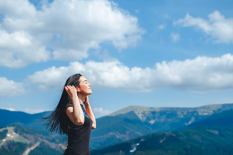 旅行者,自然,女孩,呼吸气,,非都市风光,在之后,天空,美,水平画幅,云